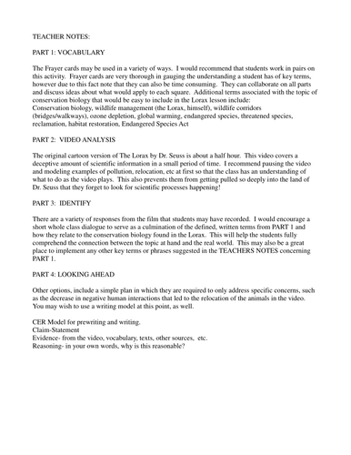Worksheet Student Worksheet To Accompany The Lorax the science of popping popcorn a scientific method investigation conservation biology with lorax by dr seuss