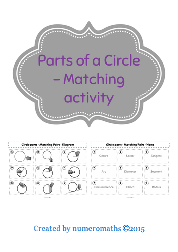 Parts of a Circle - Matching activity
