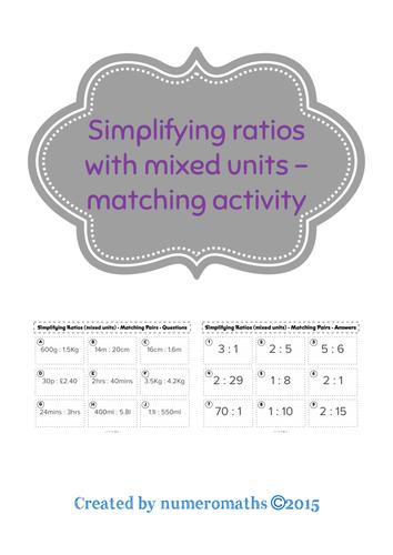 Simplifying Ratios (mixed units) - matching activity