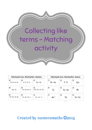 Collecting like terms - matching activity
