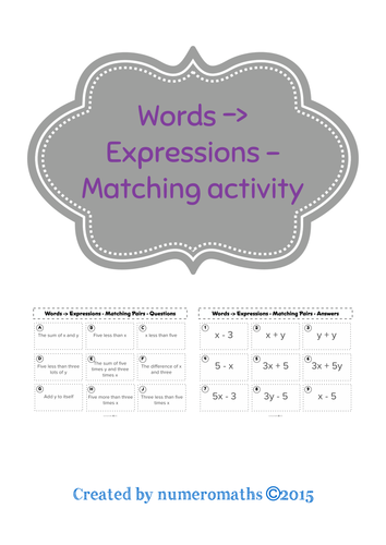 Words to expressions - matching activity - algebra