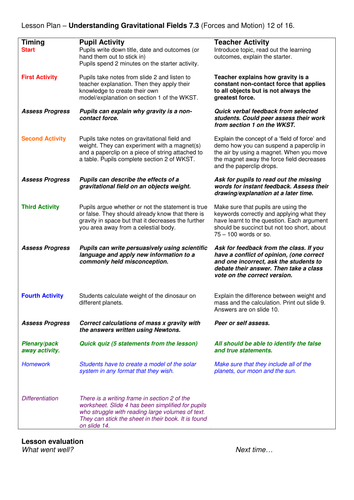 Grade 6-12: Understanding Gravitational Fields (Forces & Motion 7.3)