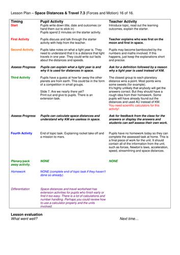 Grade 6-12: Space Distances & Travel (Forces & Motion 7.3)