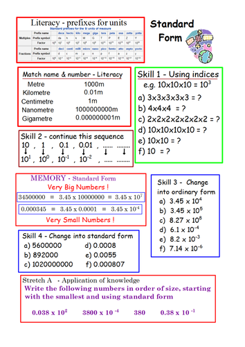 Full lesson worksheet activities for Standard Form by hjcurry ...