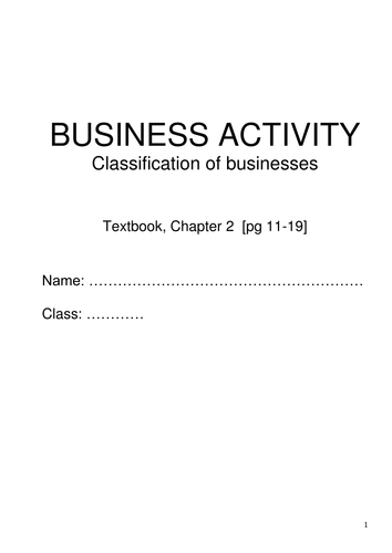 Classification of Businesses