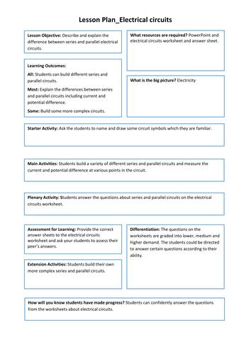 Series Parallel Circuit Worksheet Teaching Resources