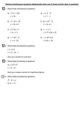 Printables Simultaneous Equations Worksheet printables simultaneous equations worksheet safarmediapps solving algebraically when one is linear and the other quadratic