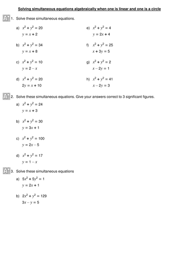 Solving Simultaneous Equations Algebraically When One Is Linear And