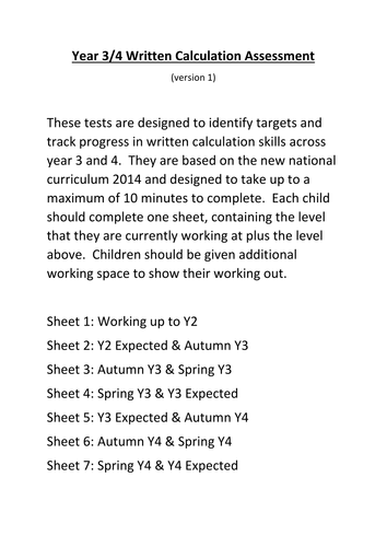 Written Calculation Assessment, Lower KS2 (Year 3 & 4)