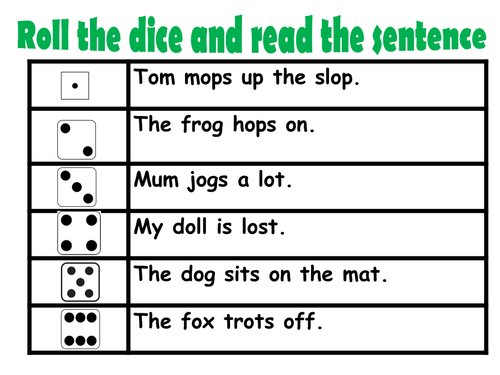 Roll and Read - phase 2 phonics