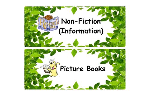 Reading Book Corner Labels (Library) KS1/2 - Leaves theme
