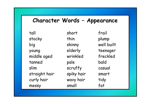 Character Adjective Resource Pack By Resourcecentre