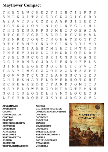 Mayflower Compact Word Search By Sfy773 Teaching Resources Tes