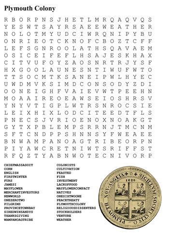 Plymouth Colony Word Search by sfy773 - Teaching Resources - TES