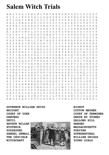 Salem Witch Trials Word Search by sfy773 - Teaching Resources - Tes