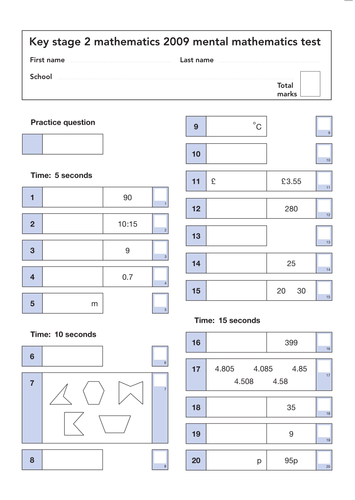 All The 2009 Sats Papers Mark Schemes And Level Thresholds Teaching Resources
