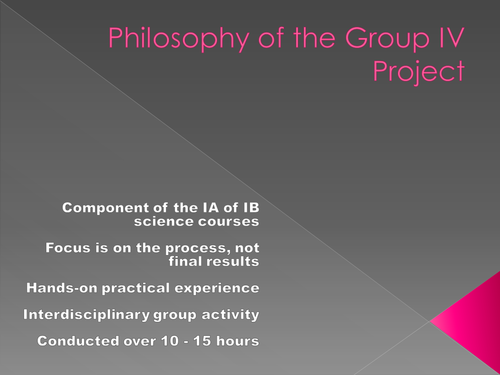 IBDP, Group 4 project resources.