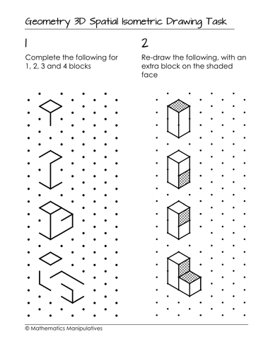 Geometry 3D Spatial Isometric Drawing Task by