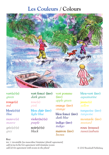 French / English Bilingual Colours poster