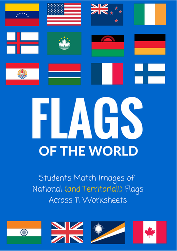 Flags of the World - 11 worksheets - matching assignment - substitute lesson!