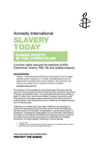 Activities: Slavery Today