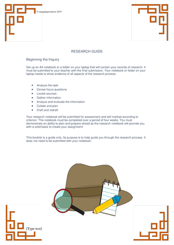 Research Booklet – scaffolding for research assignments