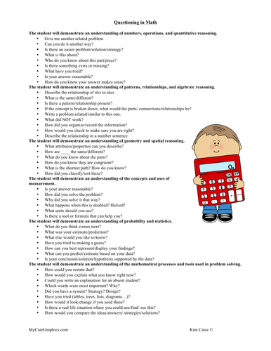 Question Strategies for Math and Reading/Bloom's
