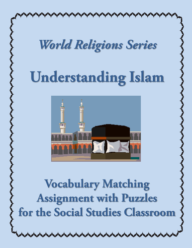 Islam Introductory Vocabulary Matching Assignment/Quiz + 4 Puzzles