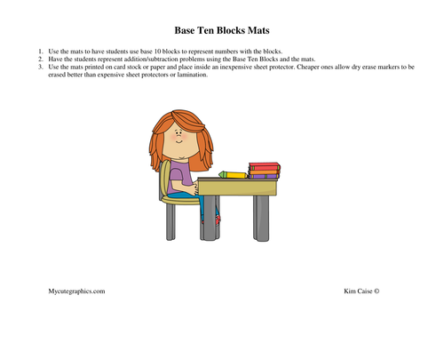 Base 10 Blocks Mats