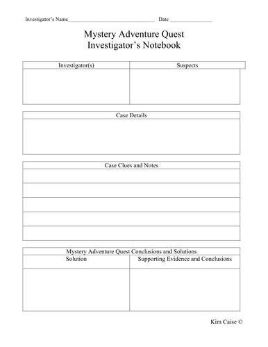 Mystery Investigator Notebook Record Sheet
