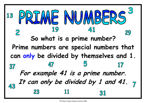 Prime Numbers Poster Teaching Resources