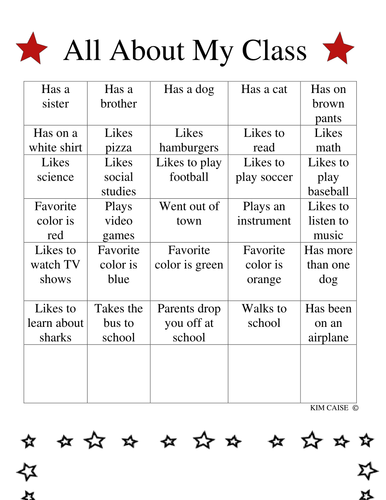 All About My Class Activity Sheet