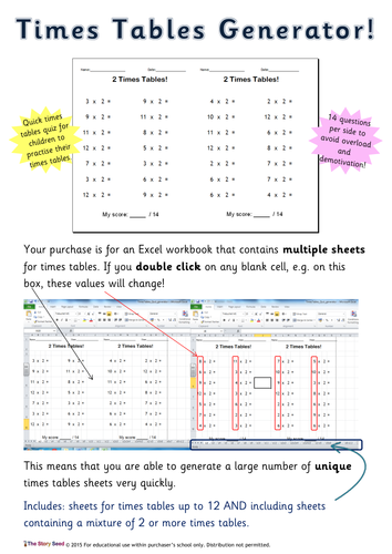 Times Tables Quiz / Practise sheets