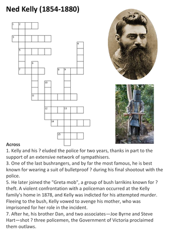 ned kelly crossword by sfy teaching resources tes