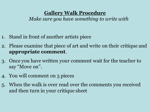Critique Activity Gallery Walk By Kimjensen5 Teaching Resources Tes