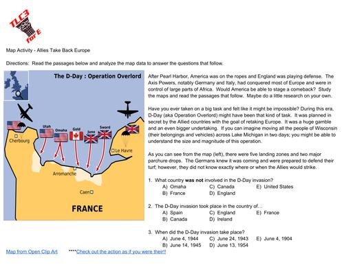 Map Activity:  World War II (D-Day & Operation Torch)
