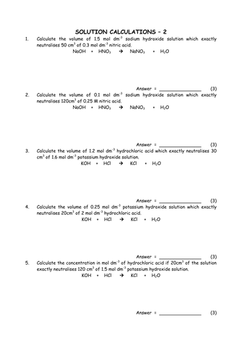 The Mole Chemistry Worksheet - Synhoff