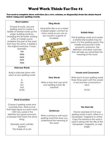 Spelling/Vocabulary/Word Work Think-Tac-Toe Set