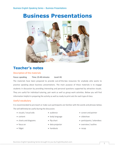 Business presentations - discussion questions
