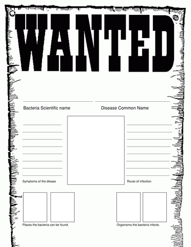 Bacteria Wanted Poster By Mizzzfoster Teaching Resources