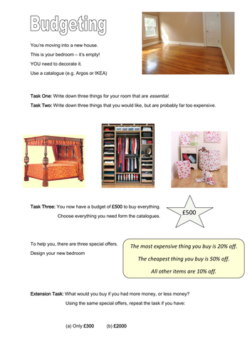 Budgeting for a Bedroom by dh2119   Teaching Resources