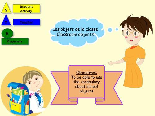 French school objects lesson + activity (NO PREP)/ Les objets de la classe en français