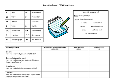 FCE English Exam - Writing Criteria & Correction Codes