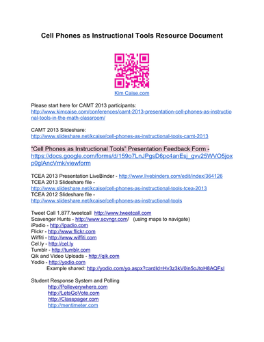 Cell Phones as Instructional Tools Reference Sheet