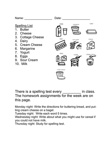 Life Skills Vocabulary: At the Grocery Store-Dairy
