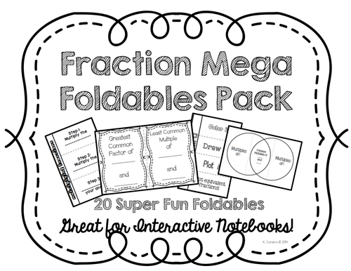 Mega Fractions Foldables 20 Pack for Interactive Math