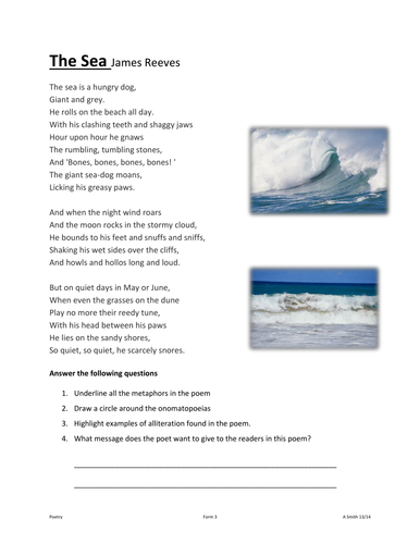 How Does The Dog Compare To The Sea By James Reeves?