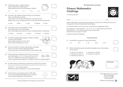 Primary Mathematics Challenge Paper November 2014