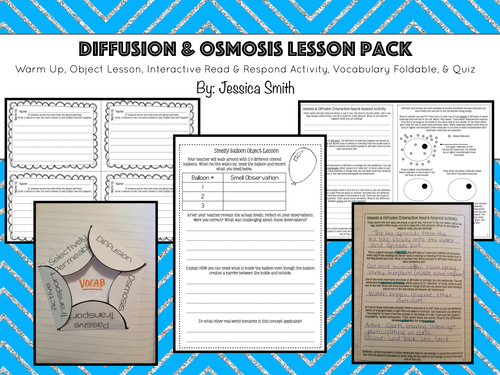 Diffusion Osmosis Lesson Pack Intro Activity Read Define