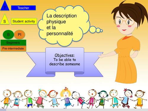 French Physical/Character description (lesson+Booklet) NO Prep/ la description physique, personalité